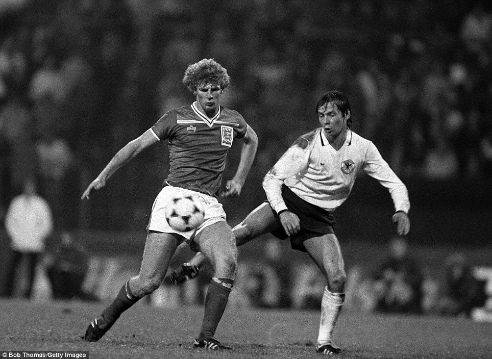 UEFA Under-21 Championship final, second leg, 1982: England's Tommy Caton shields the ball from West Germany's Stephan Engels