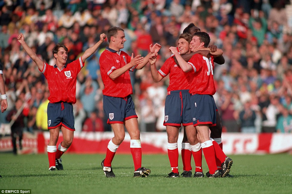 Gary Neville, Mark Tinkler, Darren Caskey, Sol Campbell and Robbie Fowler celebrate after Caskey scored a penalty for England's Under-18 team in 1993