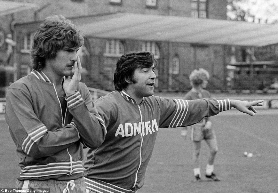 England Under-21 coach Terry Venables watched by Tottenham's Glenn Hoddle during training in Copenhagen in 1978