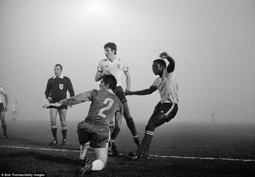 Garth Crooks (right) scores for England Under-21s against Bulgaria watched by Garry Birtles (centre) at Filbert Street in 1979