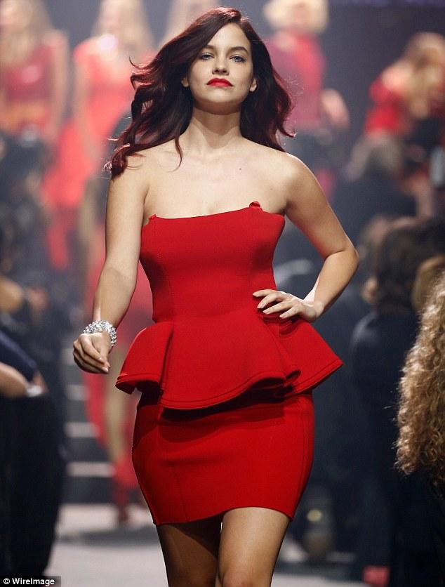 Impressing Bieber? Barbara Palvin wore a short red dress with a peplum detail