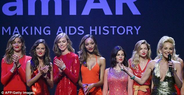 Host:  Sharon Stone was joined by (L-R) Ana Beatriz Barros, Alessandra Ambrosio,  Karlie Kloss,  Jourdan Dunn, French art director and model Julia Restoin Roitfeld and  Jessica Hart