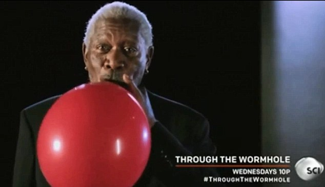 Here goes nothin': Morgan Freeman, 76, takes a hit from a helium in a new commercial for documentary series Through The Wormhole on The Science Channel