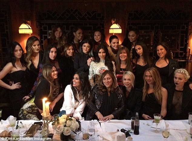 The Last Supper: Kim was joined by her sisters, celebrity friends like Brittny Gastineau, LaLa Anthony and Rachel Roy and stylists Joyce Bonnelli and Monica Rose