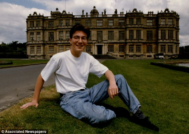 Younger days: Ceawlin Thynn in front of Longlet House in 1993. He has known his wife since she was four