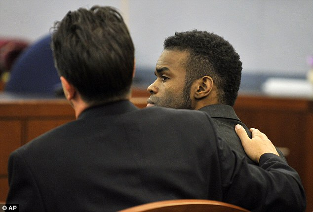 Prison: Jason Omar Griffith, (right), is comforted by his attorney Jeff Banks after a guilty verdict was read during his murder trial at the Regional Justice Center on Thursday, May 22, 2014, in Las Vegas