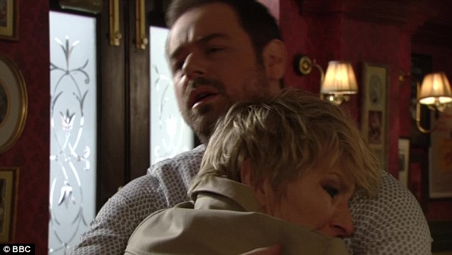 Even though he is perfect as the landlord of the Queen Vic, Danny Dyer will always be Danny Dyer to us. Here, he consoles Shirley without realising that she is not his sister but his mum. Or that she is a Terrahawk