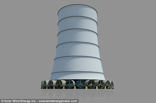 The Solar Wind Downdraft Tower (artist's illustration shown) is the first hybrid solar-wind renewable energy technology on the market. The patented structure is comprised of a tall hollow cylinder with a water injection system near the top and wind tunnels containing turbines near the bottom