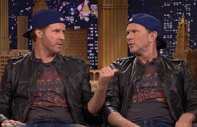 Same, same but different: Will Ferrell (left) came face to face with his doppelganger Chad Smith (right), the drummer of the Red Hot Chilli Peppers on Thursday on The Tonight Show Starring Jimmy Fallon