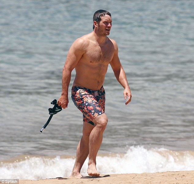 Buff stuff: Chris Pratt didn't hurt the eyes as he strolled to shore in flowered trunks and carrying a snorkel