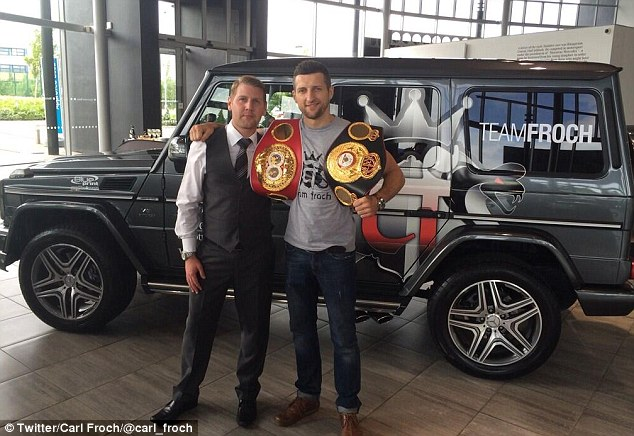 Hot wheels: Carl Froch (right) took to Twitter to show off his new personalised Mercedes
