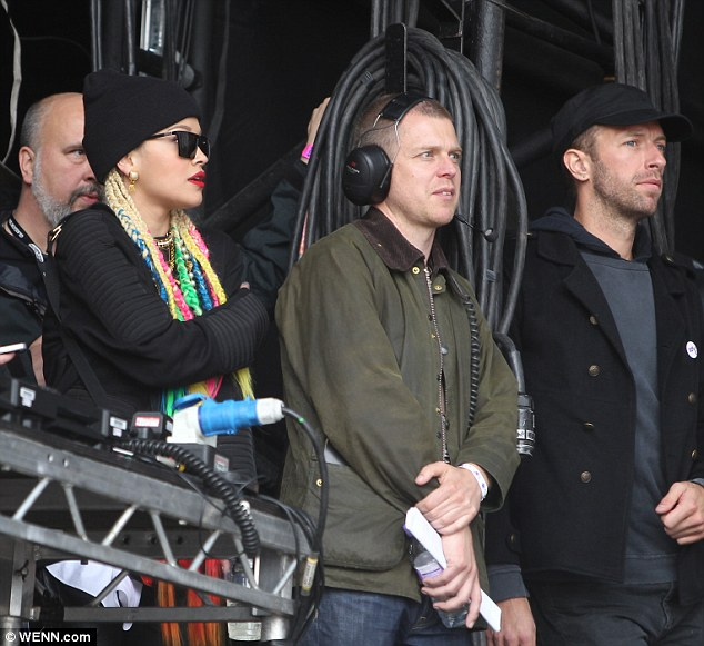 Not so subtle: Rita Ora, Chris Martin and Lily Allen watch Ed Sheeran perform during the Radio 1 Big Weekend in Glasgow