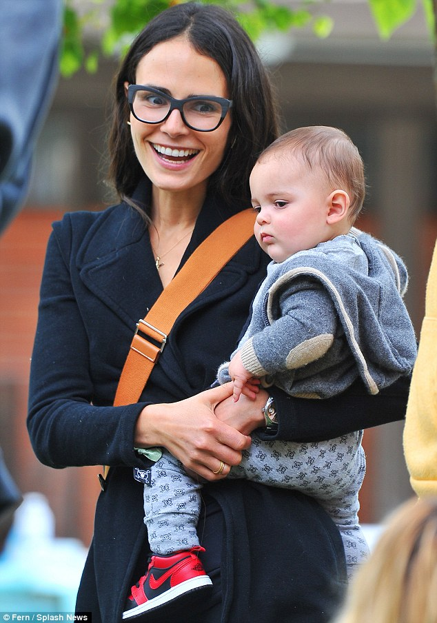 Mother son bonding: Jordana Brewster and her son Julian joined Jaime King and her son James for a play date at the park in Los Angeles on Saturday