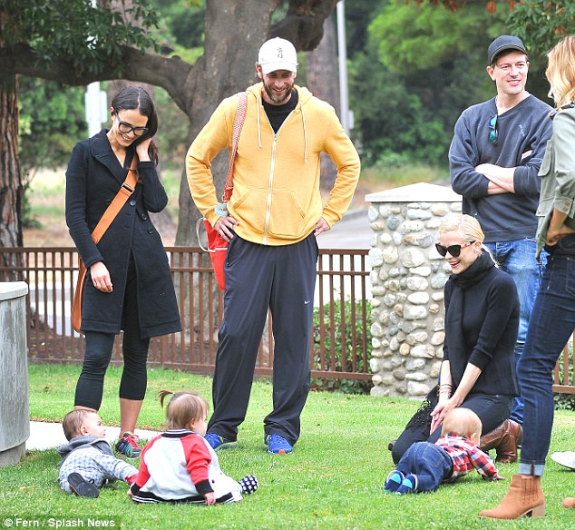 Friends: The group was joined by a third couple and their child