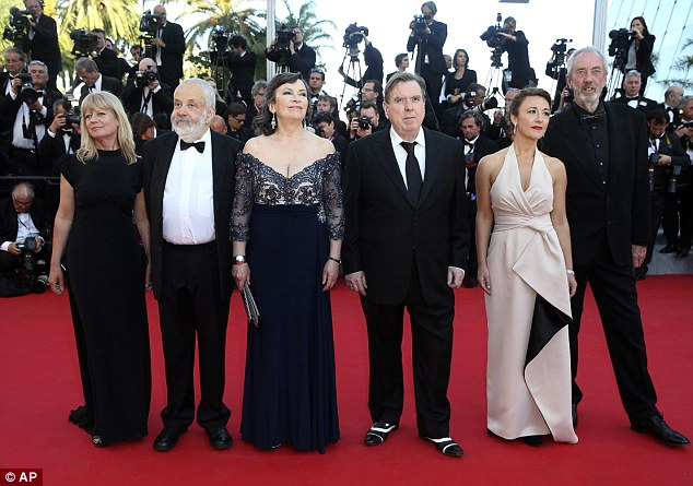 Rocking the red carpet: Director Mike Leigh, actress Marion Bailey, actor Timothy Spall, actress Dorothy Atkinson and director of photography Dick Pope at the Mr Turner Cannes Film Festival screening on May 15
