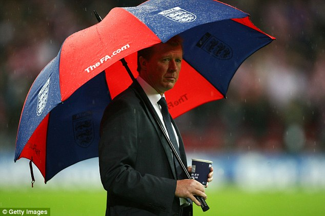 Umbrella: McClaren's infamous 'Wally with a Brolly' moment from when he was England manager in 2007