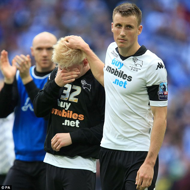 Heartache: Derby players Will Hughes (left) and Craig Forsyth finding it tough to take the defeat
