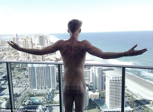 Cheeky boy: Cody shared this naked snap of himself holidaying on the Gold Coast on social media last week