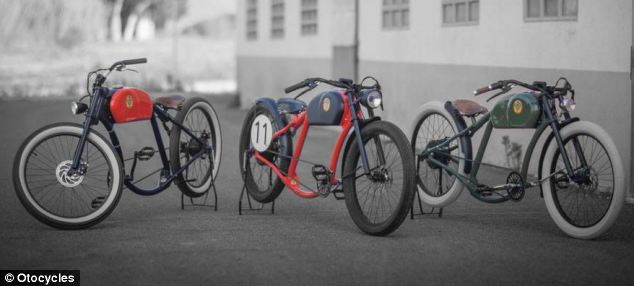 The bikes are designed to look like a 1950s motorcycle