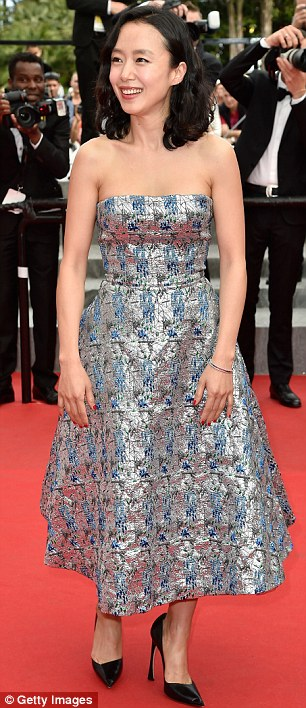 Shine bright: The Housemaid actress Do-yeon opted for a chic metallic dress, complete with strapless design
