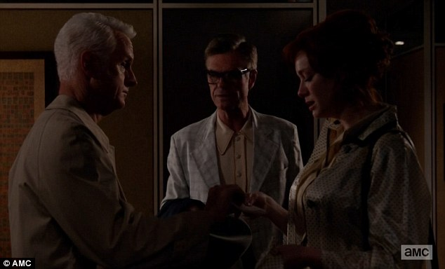 Tough loss: Roger had to deal with Joan and Cutler right after learning of Bert's death