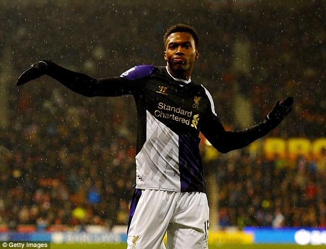 The original: Daniel Sturridge performs his trademark dance after scoring for Liverpool against Stoke City
