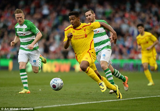 Ibe uses his pace to get away from the Shamrock Rovers defence during a Liverpool pre-season friendly