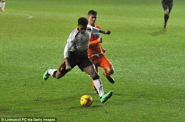 Ibe scores for Liverpool against Blackpool in a third-round FA Youth Cup tie at Bloomfield Road last season