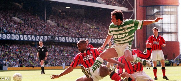 Hoops: Di Canio (centre) won the Scottish PFA Player of the Year award during his solitary season with Celtic