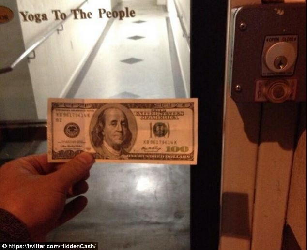 Pay it forward: @HiddenCash shared this photo with the message 'Why not use this to tip your @YogaToThePeople teacher this morning? (Find it under the key box)'