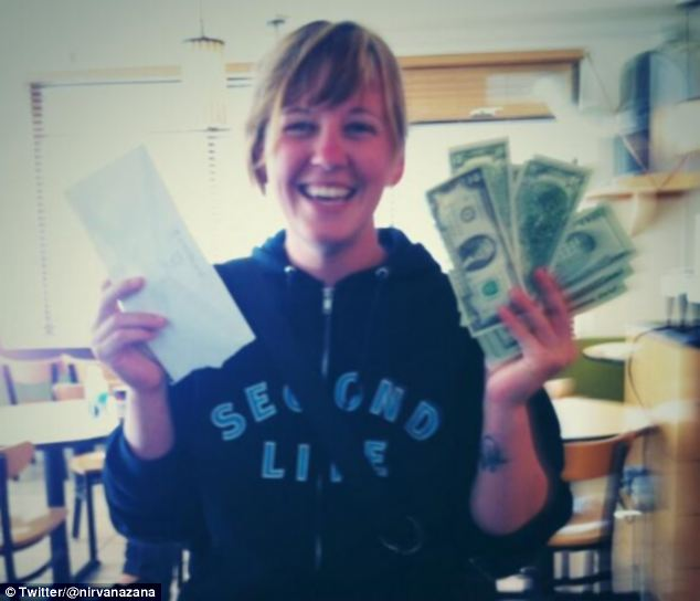 Joy: A Twitter user celebrates finding cash hidden in San Francisco by an anonymous wealthy donor