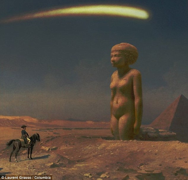 Time travel: This piece, by Laurent Grasso, imagines Pharrell as Napoleon looking at a giant ancient sculpture of Egypt's Queen Nefertiti, which will be the art for the singer's new single, Lost Queen