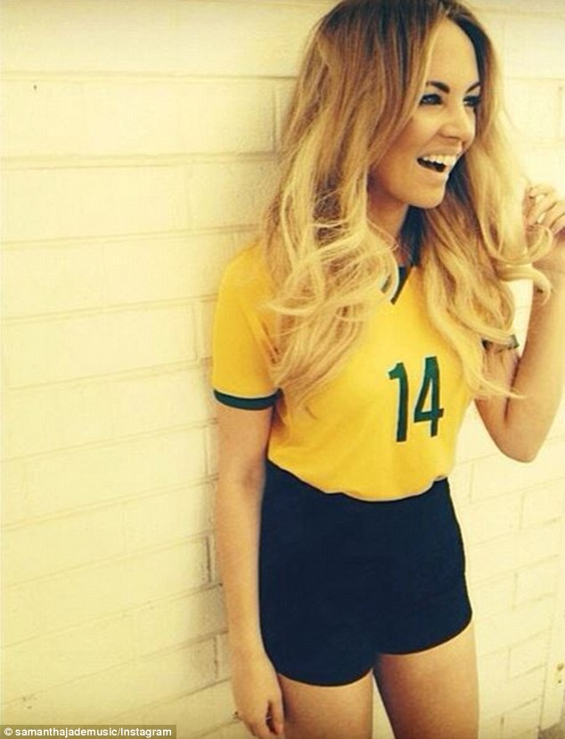 New recruit! Samantha Jade posted a photo of herself in a customised Socceroos jersey ahead of her performance at the Australia v South Africa match