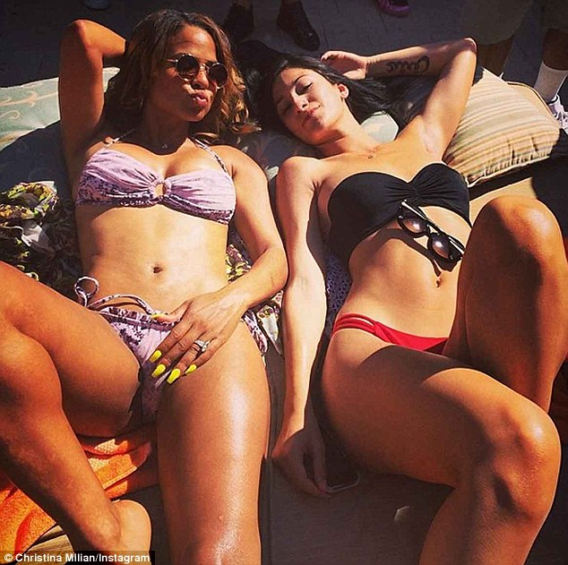 'Twerkout': The 32-year-old Emmy winner shared numerous Instagram snaps of herself and her scantily-clad gal pals soaking up the desert sunshine