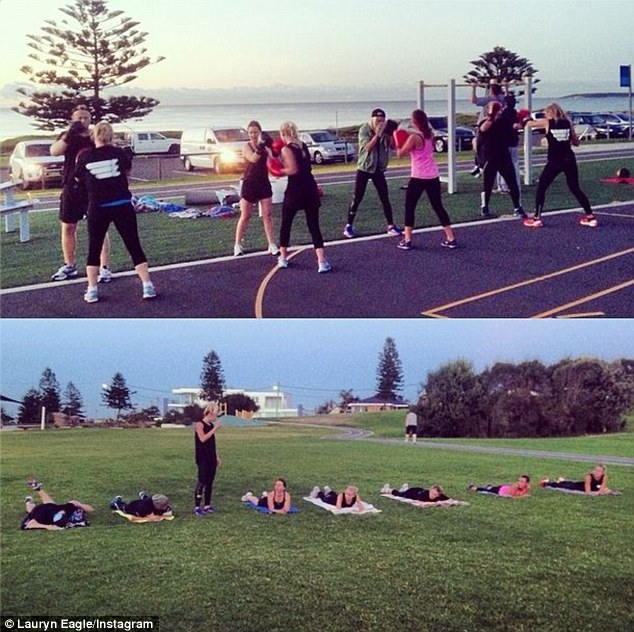 On Wednesday morning Lauryn posted a snap of her training aspiring athletes and fitness junkies at her Eagle Fitness club in Sydney