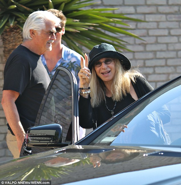 Fun day: The 72-year-old was in great spirits as she left the bash along with her husband James Brolin
