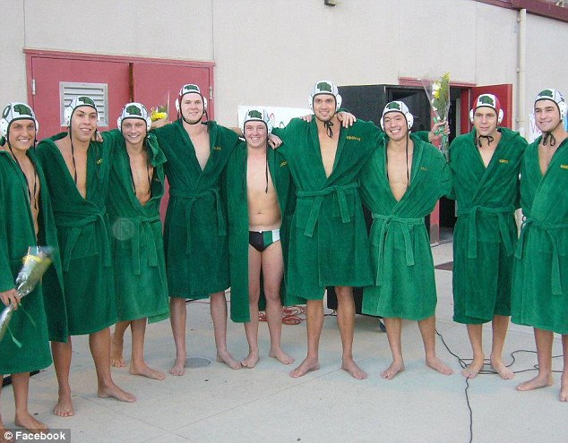 Returning to the pool: Pasichuke underwent surgery on Saturday but will be able to play water polo again. Pictured fourth from right in the above photo with his high school team