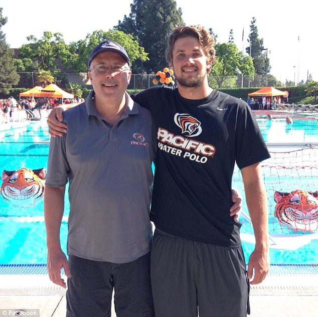 Get well: His sister says there has been an outpouring of support back home for the water polo star. Pictured on the right at a University of the Pacific swim meet