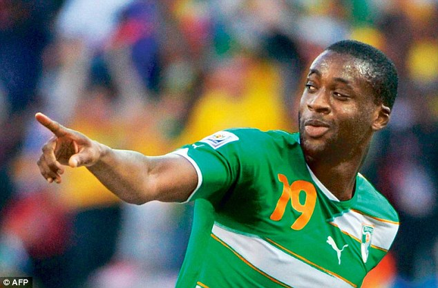 Elephant: Toure celebrating after scoring for Ivory Coast during the last World Cup in 2010
