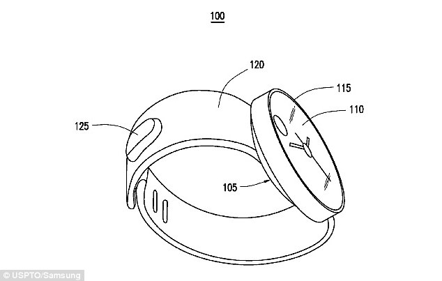 The G watch is likely to sync with LG's current range of phones. Earlier this week, patent files revealed a Samsung smartwatch, pictured, that won't need a phone to work. According to the application, the standalone smartwatch could be controlled using gestures, detected by sensors built into the wrist-worn device