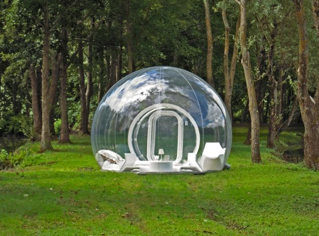 The Casa Bubble comes in three different designs -- from fully transparent (above) to almost fully opaque