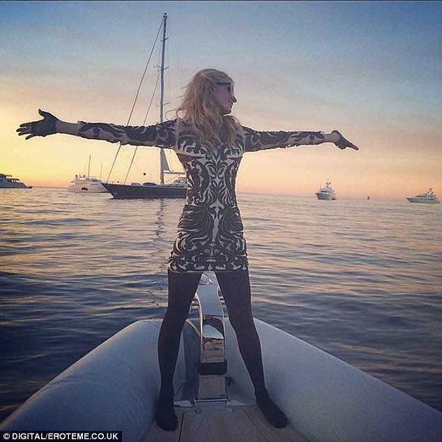 Grateful: The 33-year-old tweeted her glee over basking in the natural beauty of the French Riviera