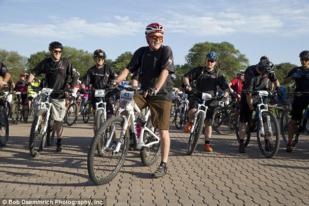 Leading the charge: Former President Bush participated in the Wounded Warrior 100k bike race near his ranch in Crawford, Texas in early May, just weeks before his surgery this weekend