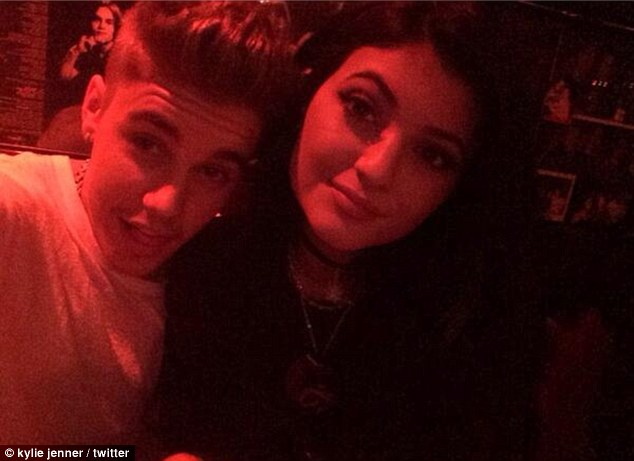 Close: Justin Bieber and Kylie Jenner looked very cosy at West Hollywood's Rainbow Room on Monday night
