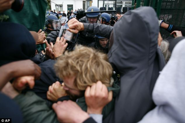 A group of around 20 people who pushed and shoved the police were mainly student activists