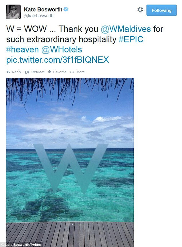 Green with envy: The actress' post included a stunning picture of the ocean as well as the hotel's logo