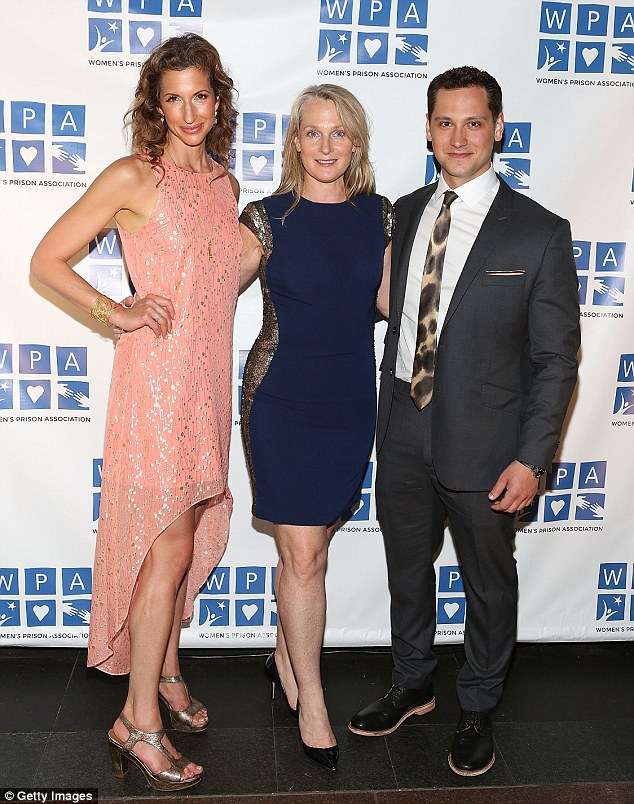 Orange Is The New Black family: Alysia Reiner, Piper Kerman, and Matt McGorry wore outfits with an edgy twist at the Women's Prison Association's Cocktails For A Cause event in New York on Tuesday