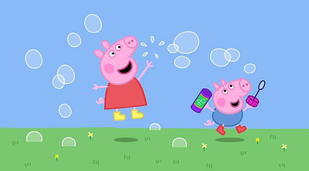 Ham-fisted: Peppa Pig seen here  playing with her brother George