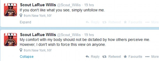 Just unfollow me: Scout maintained she didn't want to 'force' her view on anyone