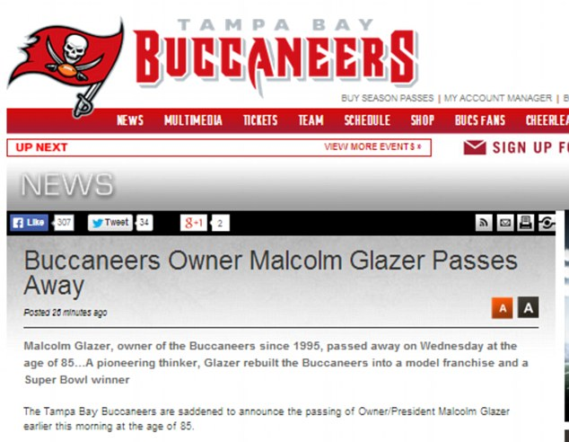 Sad news: The announcement from the Tampa Bay Buccaneers website